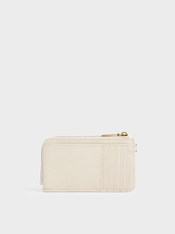 Multi-Slot Zip-Around Card Holder, Cream, hi-res