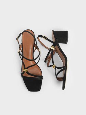 Metal Accent Strappy Textured Block Heels, Black, hi-res