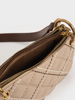 Quilted Metallic Handle Crossbody Bag, Sand, hi-res