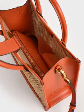 Raffia Double Handle Tote Bag, Orange, hi-res