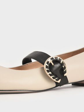 Leather Buckle Mary Janes, Chalk, hi-res