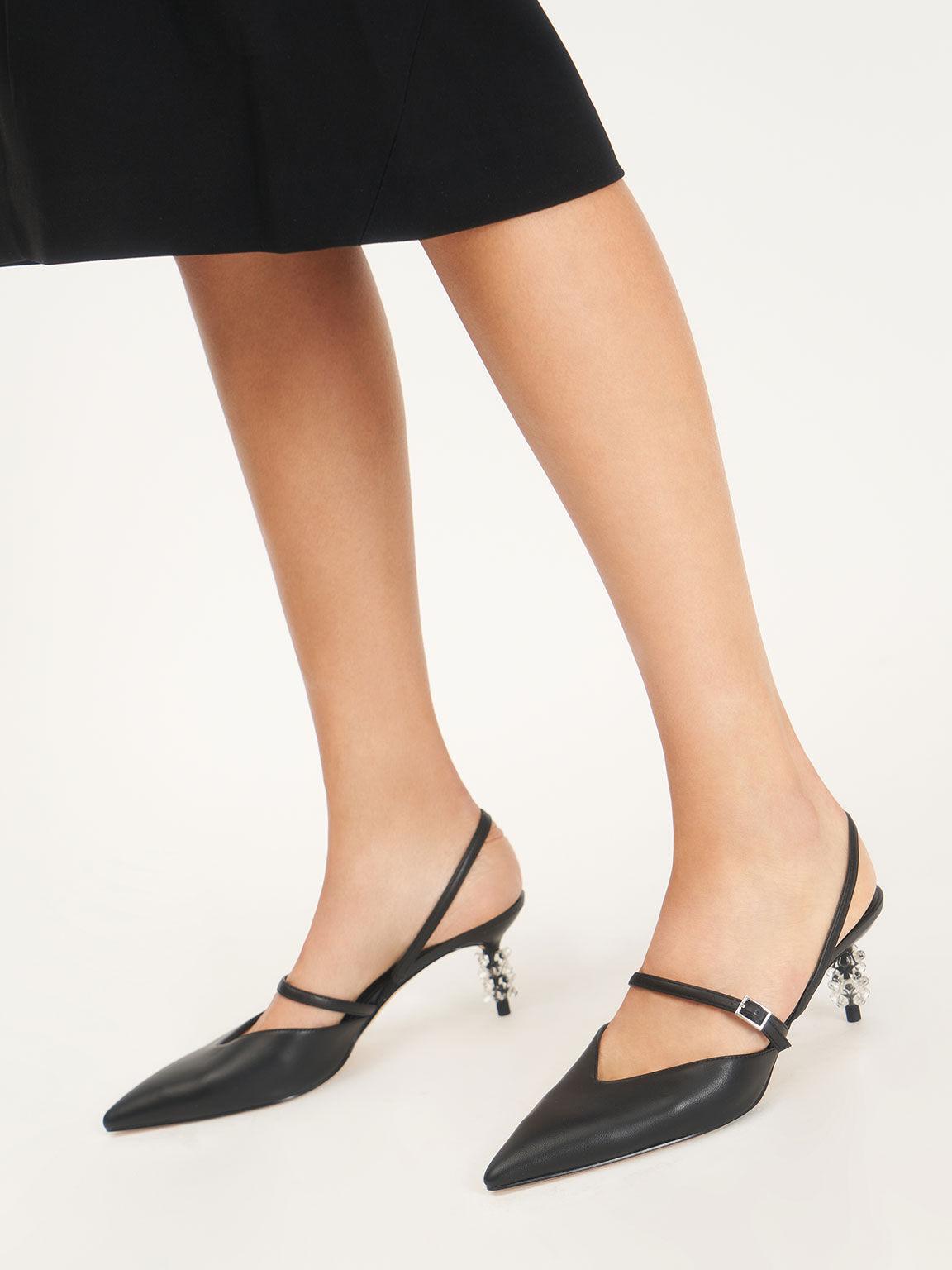 Geometric Heel Mary Janes, Black, hi-res