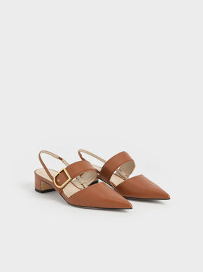 Buckle Slingback Pumps, Cognac, hi-res