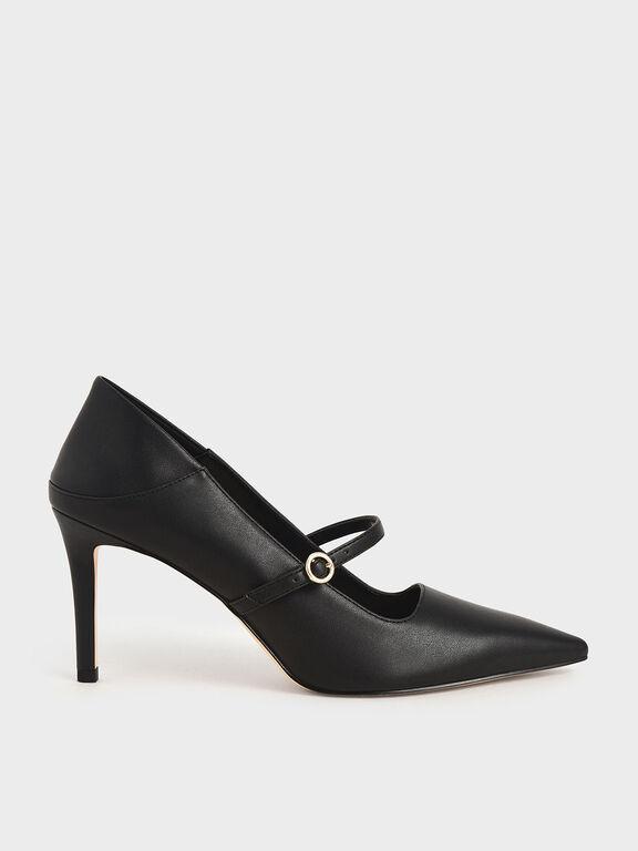 Mary Jane Stiletto Pumps, Black, hi-res