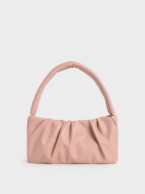 Ruched Top Handle Bag, Nude, hi-res