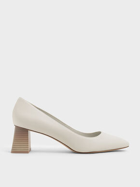 Stacked Heel Pumps, Chalk, hi-res