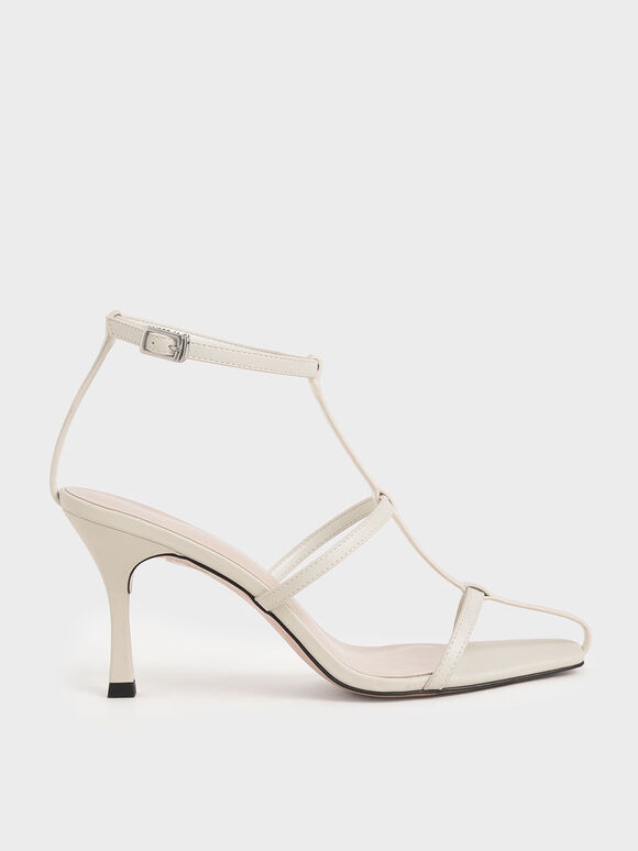 Caged Strappy Heeled Sandals, White, hi-res