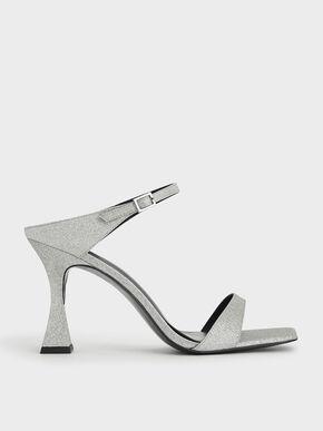 Glitter Sculptural Heel Mules, Silver, hi-res