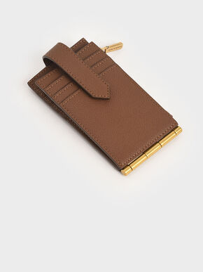Zip & Snap Button Card Holder, Chocolate, hi-res