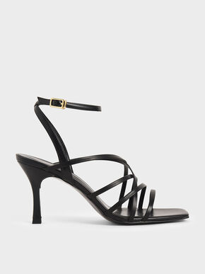 Strappy Heeled Sandals, Black, hi-res