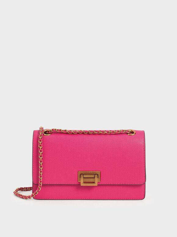 Chain Strap Evening Bag, Fuchsia, hi-res