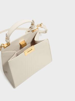 Metallic Push-Lock Trapeze Handbag, Ivory, hi-res