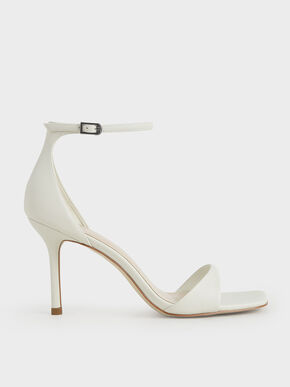 Ankle Strap Heeled Sandals, White, hi-res