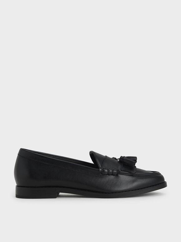 Tassel Penny Loafers, Black, hi-res