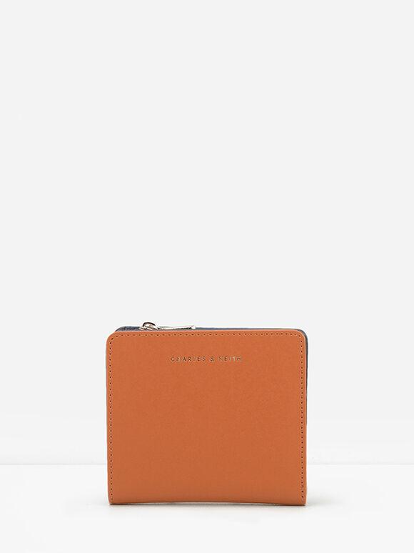 Mini Snap Button Wallet, Cognac, hi-res
