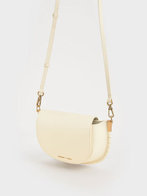 Stitch Trim Saddle Bag, Chalk, hi-res