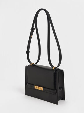 Metallic Push-Lock Crossbody Bag, Black, hi-res