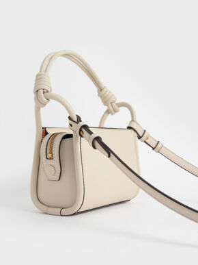 Knotted Handle Boxy Bag, Cream, hi-res