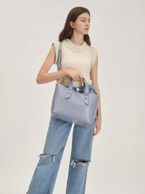 Double Handle Hobo Bag, Light Blue, hi-res