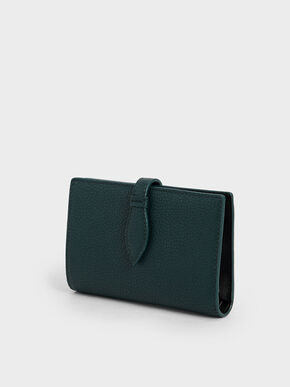 Snap Button Fold Wallet, Green, hi-res