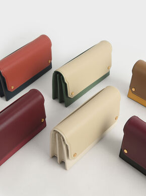 Two-Tone Mini Long Wallet, Black, hi-res