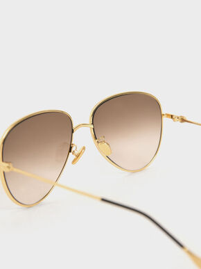 Aviator Sunglasses, Gold, hi-res