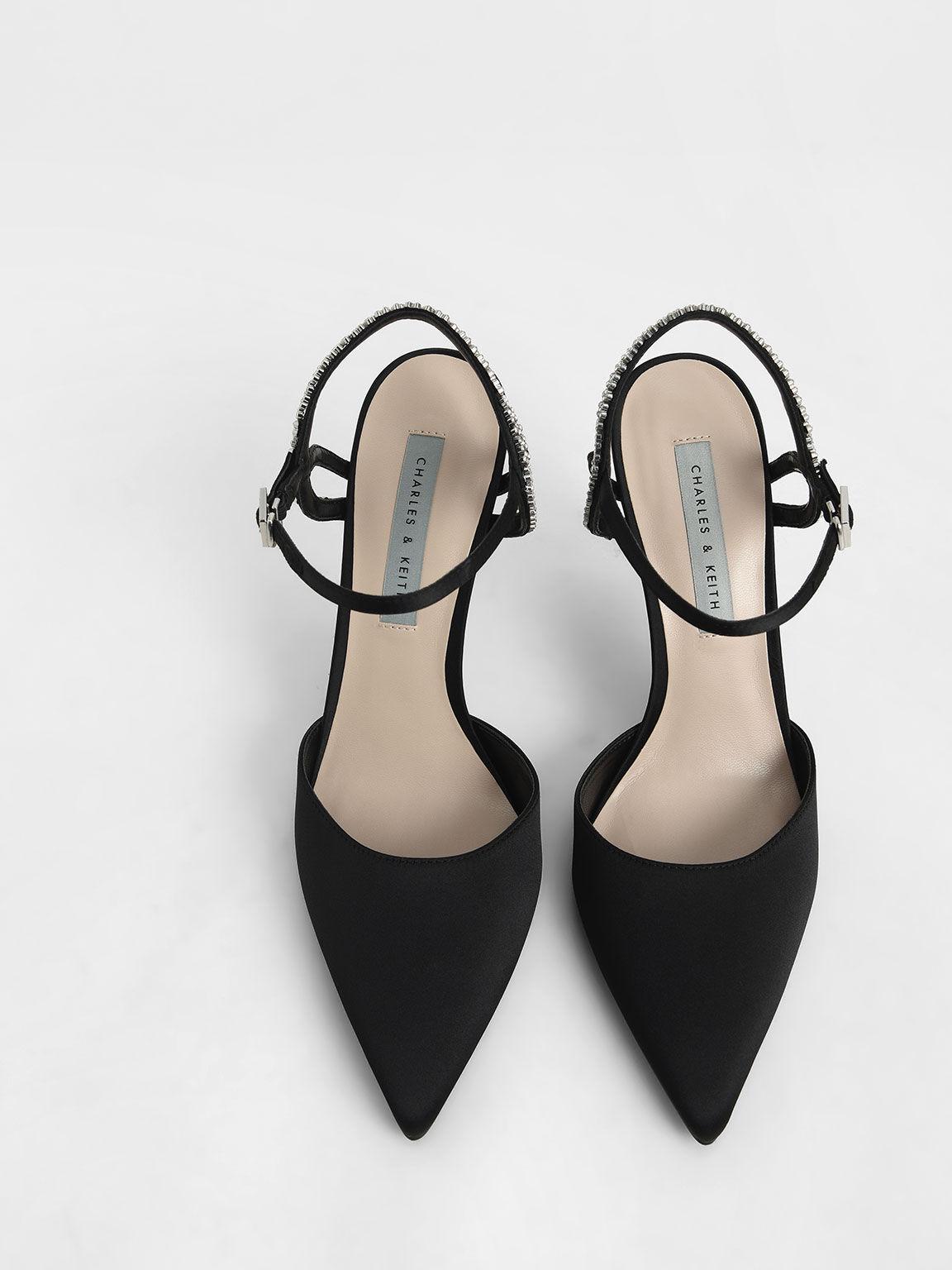 Satin Embellished Back Strap Court Shoes, Black, hi-res