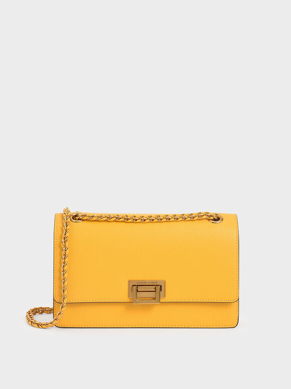 Chain Strap Evening Bag, Yellow, hi-res