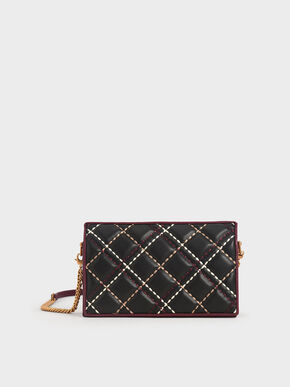Quilted Long Wallet, Black, hi-res