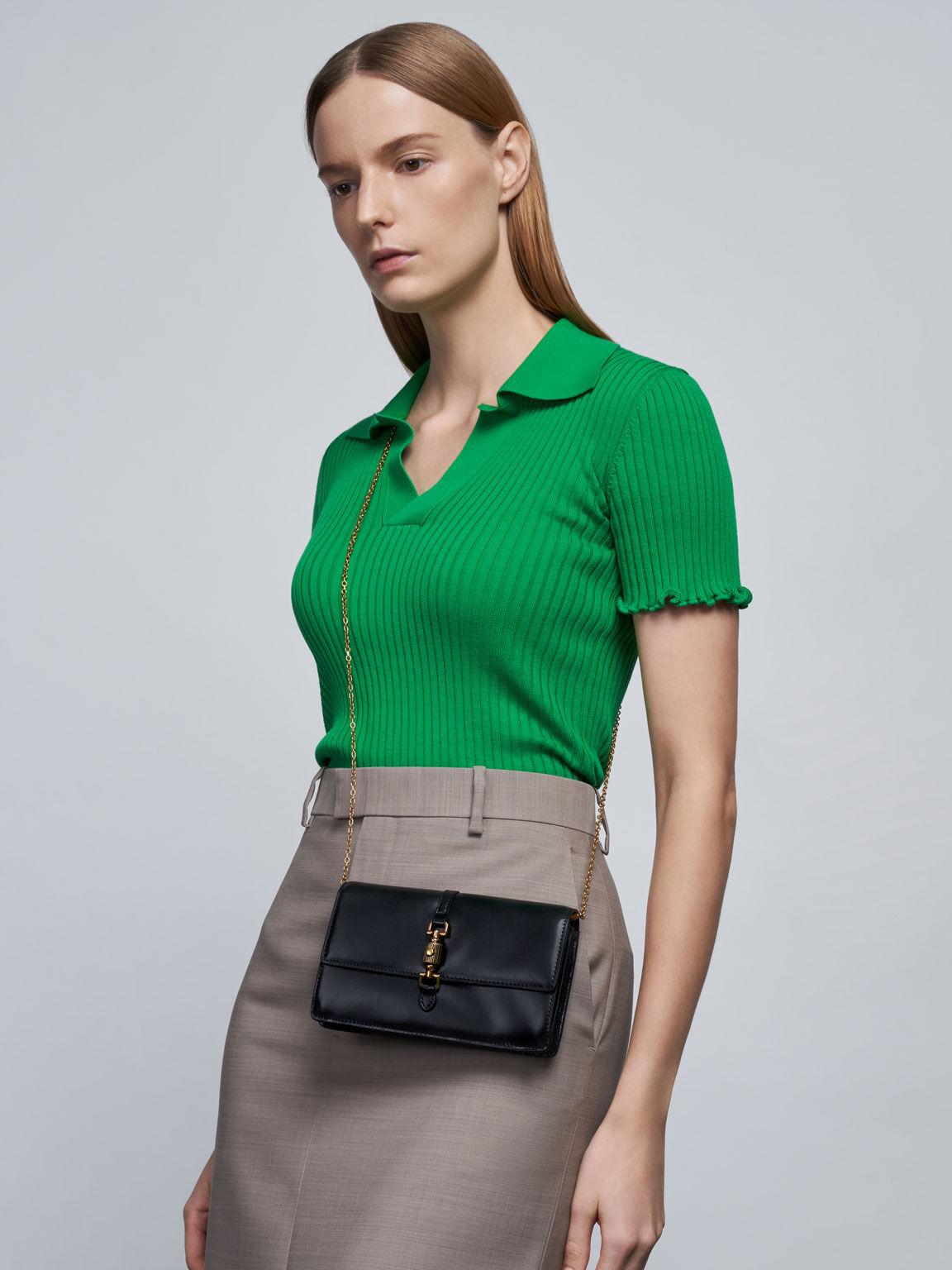 Front Flap Push-Lock Long Wallet, Black, hi-res