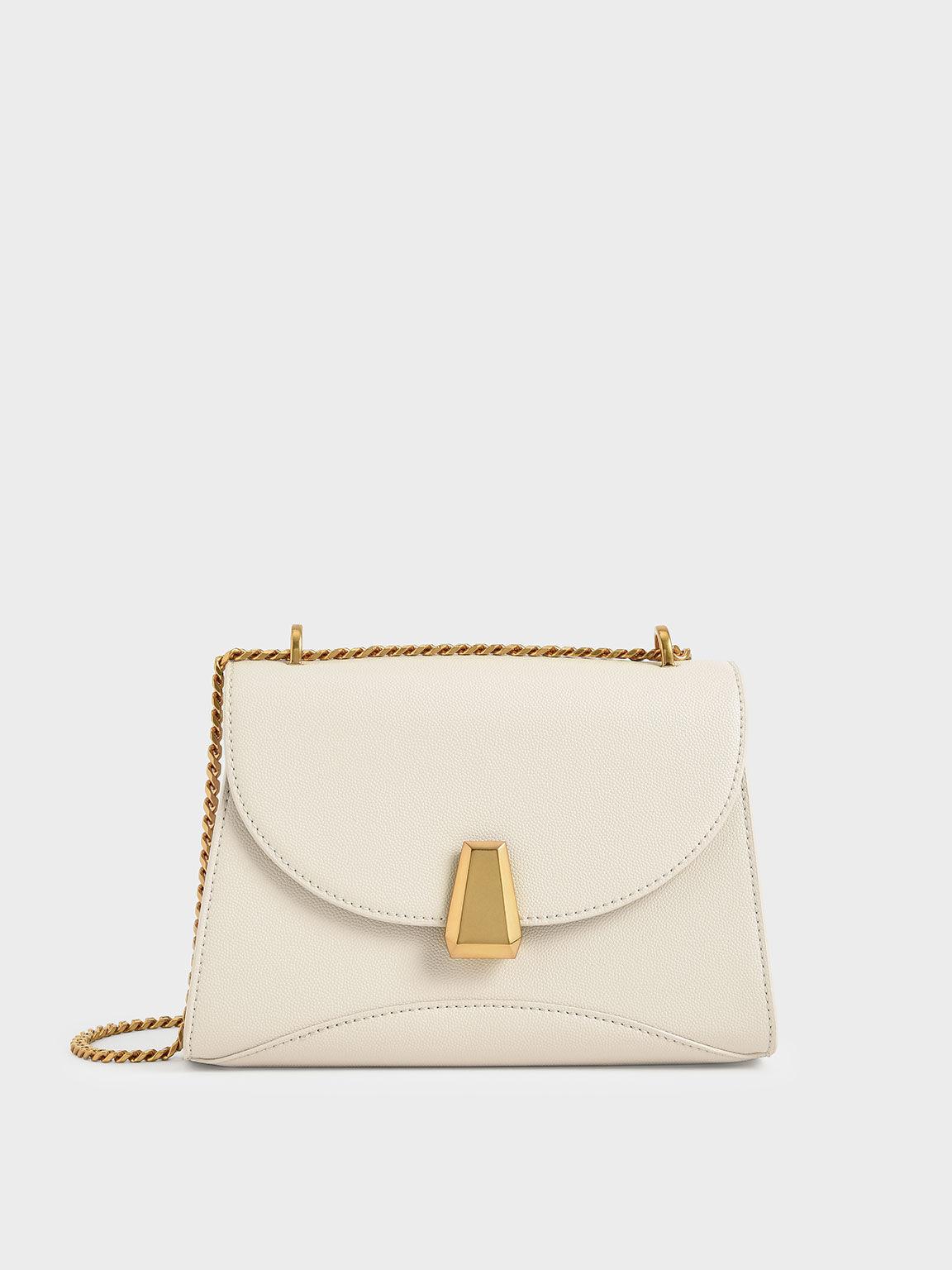 Metallic Push-Lock Trapeze Shoulder Bag, Cream, hi-res