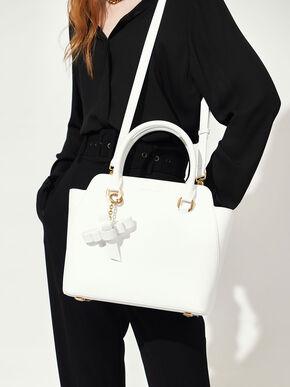 Large Classic Handbag, White, hi-res