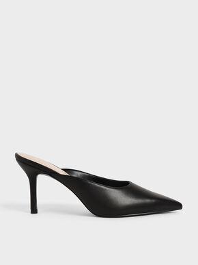 Stiletto Heel Mules, Black, hi-res