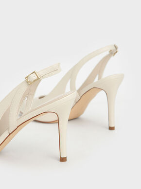 Cut-Out Slingback Pumps, Chalk, hi-res