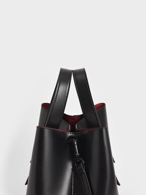 Double Handle Hobo Bag, Black, hi-res