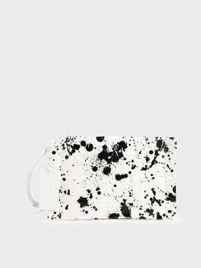 Printed Zip Clutch, White, hi-res