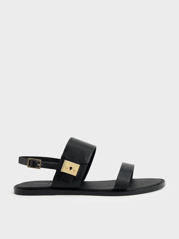 Metallic Buckle Sandals, Black, hi-res