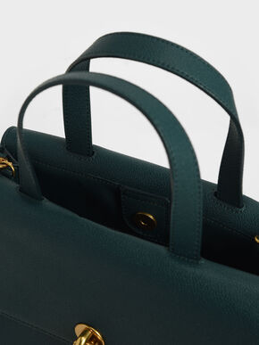 Metallic Accent Tote Bag, Green, hi-res