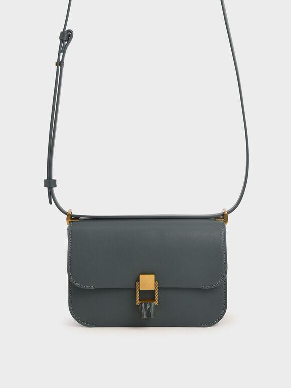 Stone-Embellished Crossbody Bag, Teal, hi-res