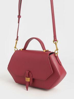Top Handle Geometric Bag, Rose, hi-res