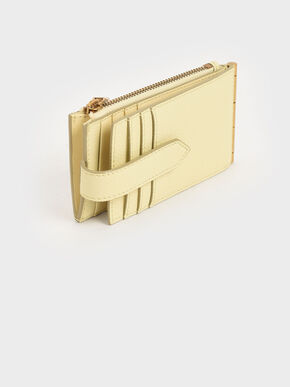 Zip & Snap Button Card Holder, Butter, hi-res