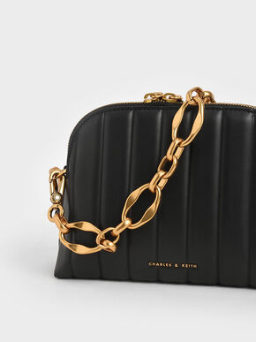 Chain Handle Panelled Crossbody Bag, Black, hi-res
