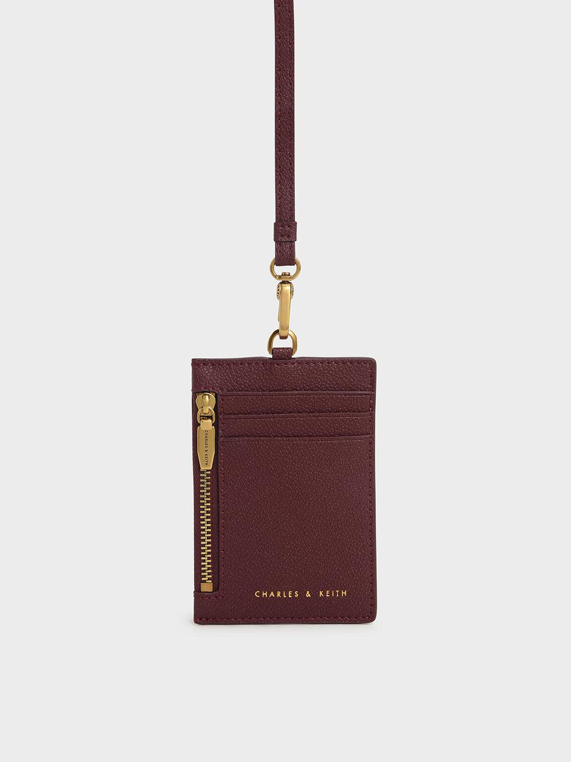 Side Zip Card Holder, Burgundy, hi-res
