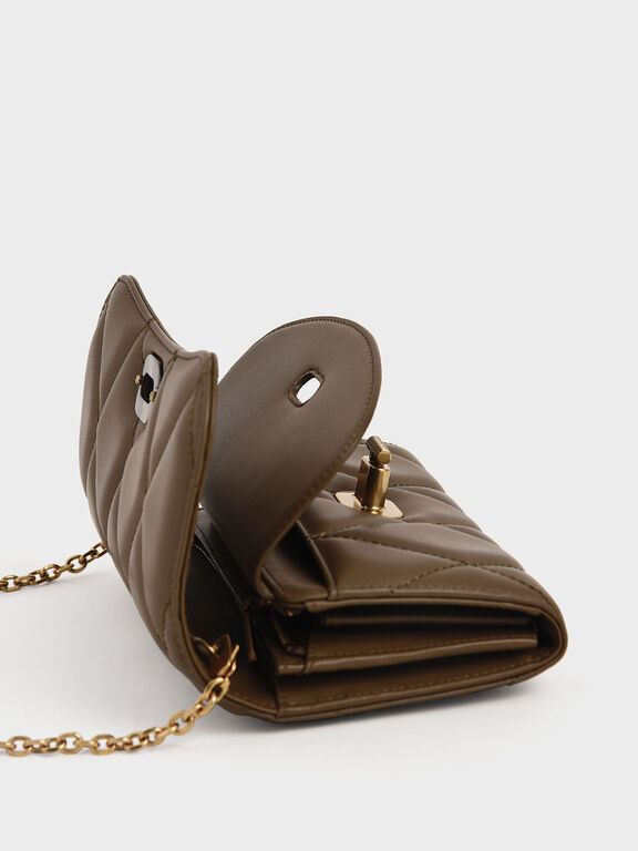 Quilted Turn-Lock Wallet, Khaki, hi-res