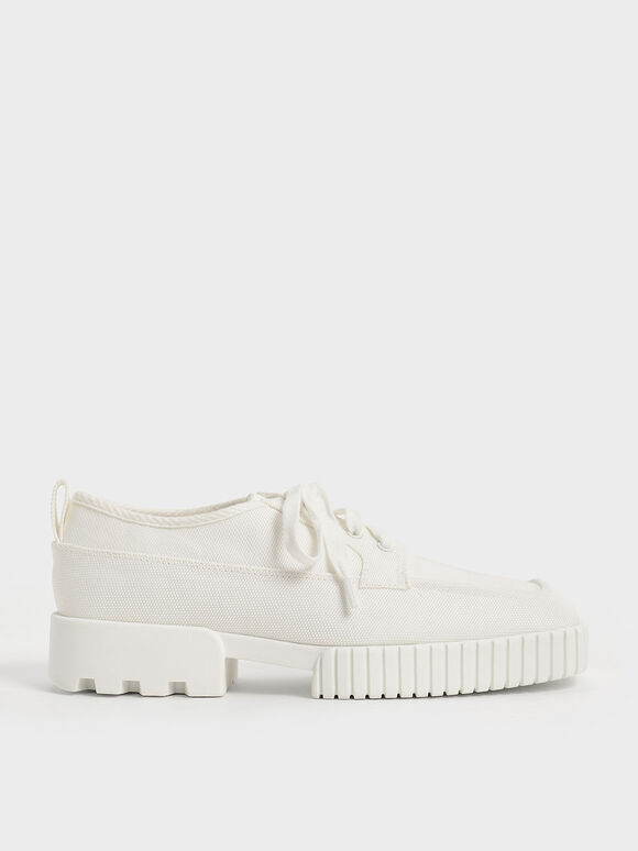 Recycled Polyester Low-Top Sneakers, Cream, hi-res