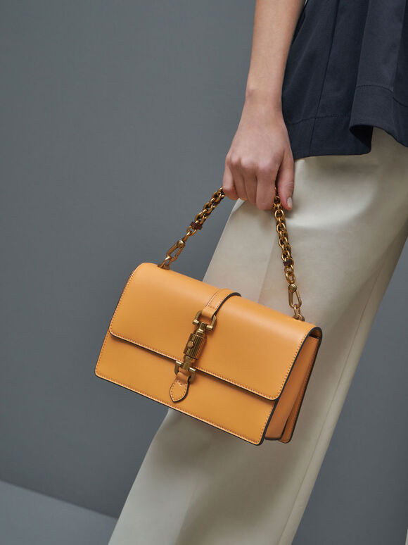 Single Chain Handle Shoulder Bag, Mustard, hi-res