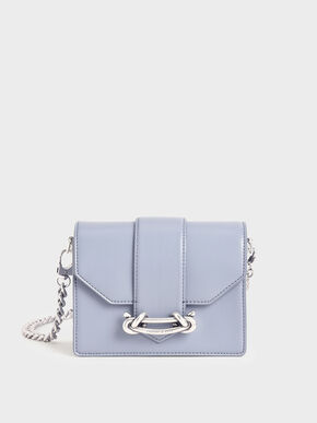 Metallic Buckle Crossbody Bag, Light Blue, hi-res