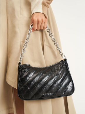 Panelled Chain Handle Crossbody Bag, Black, hi-res