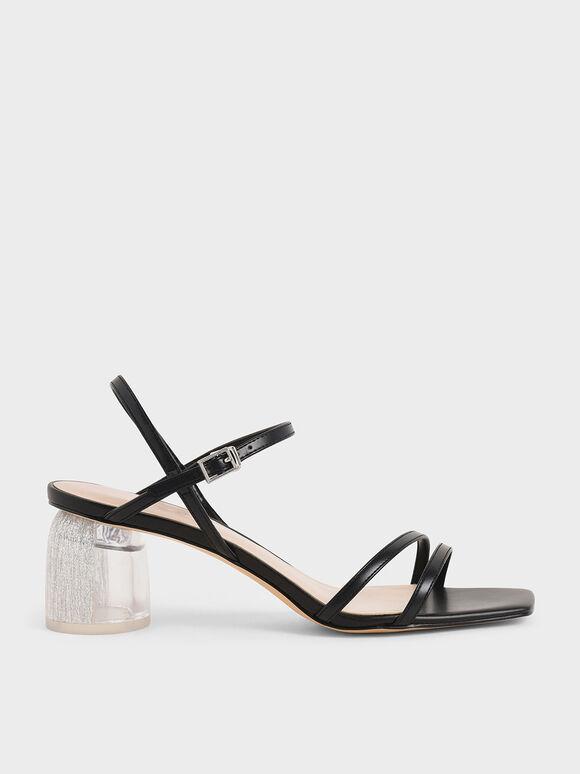 Strappy Sculptural Heel Sandals, Black, hi-res