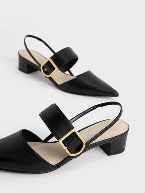Buckle Slingback Pumps, Black, hi-res